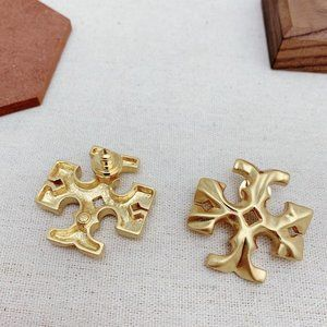 Tory Burch Carved Large Logo Stud Earrings